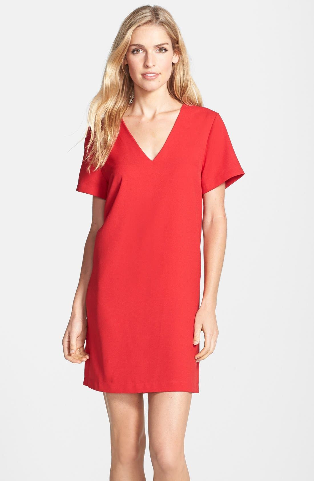 Crepe Shift Dress,                         Main,                         color, Tango Red