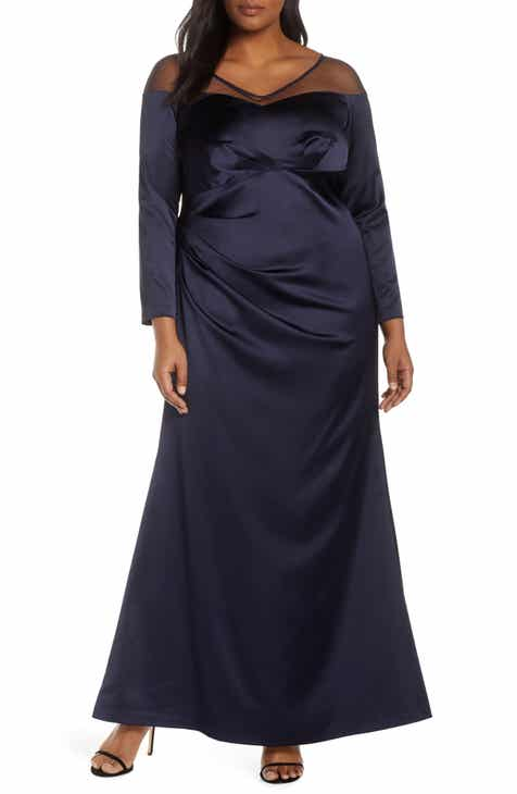 88f46702f34 Adrianna Papell Long Sleeve Illusion Off the Shoulder Satin Gown (Plus Size)