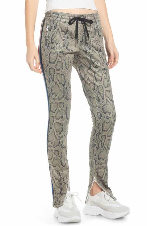 Pam & Gela Snakeskin Print Track Pants by PAM AND GELA