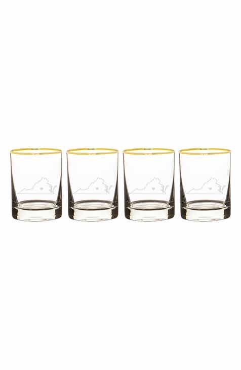 7ff355308d1 Cathy s Concepts State Love Set of 4 Gold Rimmed Whiskey Glasses