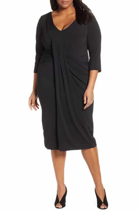 Jason Wu x ELOQUII Drape Front Body-Con Dress (Plus Size)