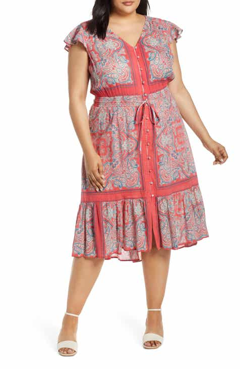 Lucky Brand Felice Border Print Dress (Plus Size) by LUCKY BRAND