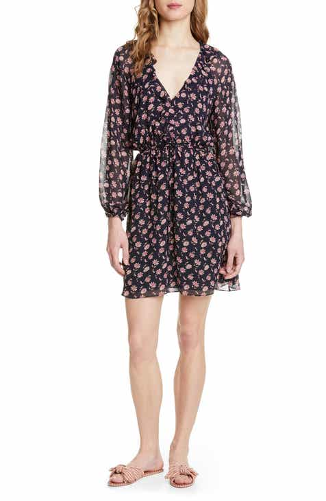 Joie Marelle Ruffle Neck Long Sleeve Silk Dress by JOIE