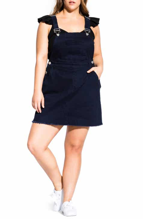 Modern  City Chic Denim Overall Dress (Plus Size) Purchase
