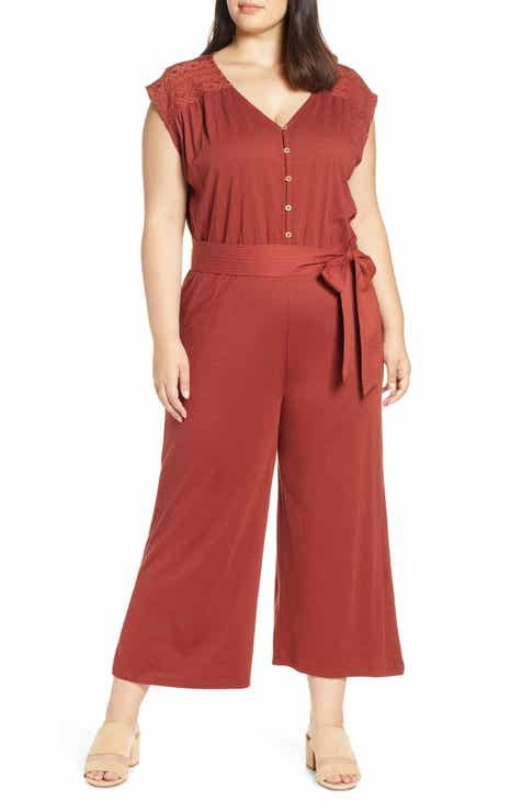 Caslon® Shoulder Detail Jumpsuit (Plus Size)