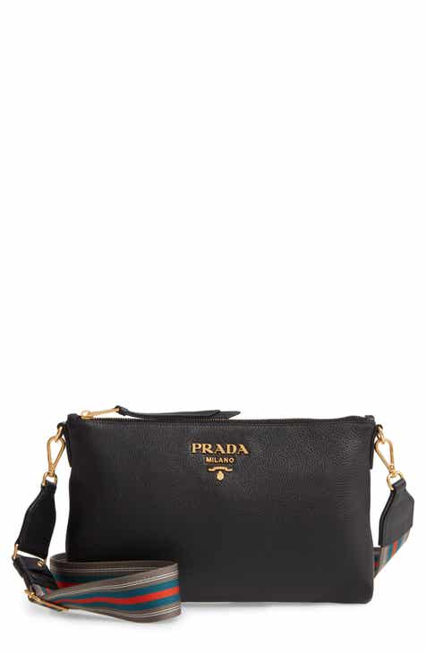 e03b9e473ea1 Prada Vitello Daino Leather Crossbody Messenger Bag