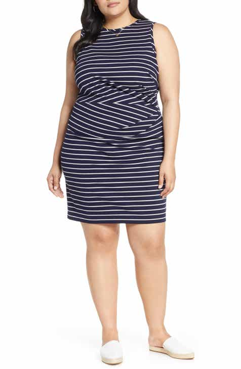 3c649d230d6 1901 Gathered Stripe Dress (Plus Size)