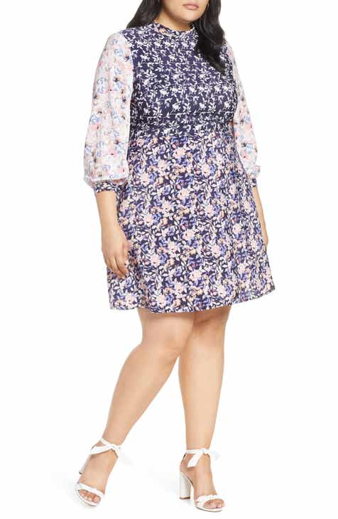 1901 Colorblock Floral Dress (Plus Size) by 1901