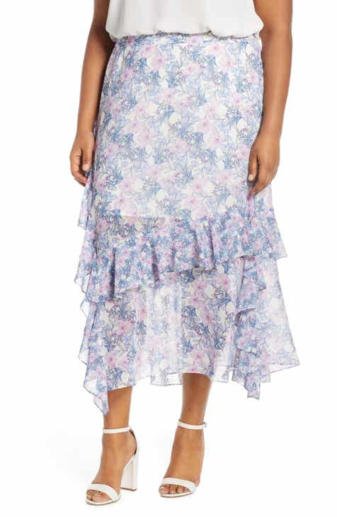 42f56ab6e59 Vince Camuto Charming Floral Tiered Ruffle Skirt (Plus Size)
