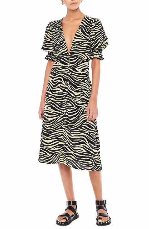 FAITHFULL THE BRAND Rafa Zebra Print Midi Dress
