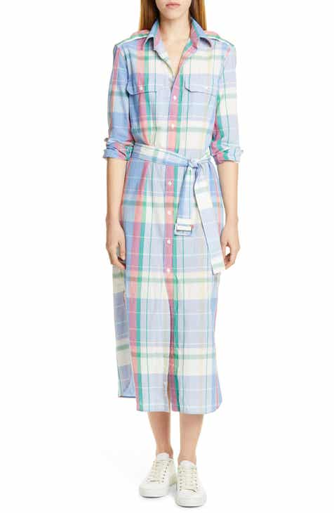 26e96f4c Polo Ralph Lauren Long Sleeve Plaid Cotton Shirtdress