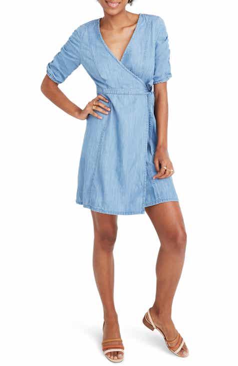 Madewell Shirred Sleeve Denim Wrap Dress (Regular & Plus Size)