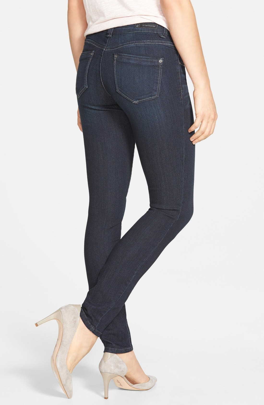 Super Smooth Stretch Denim Skinny Jeans,                             Alternate thumbnail 3, color,                             Dark Navy