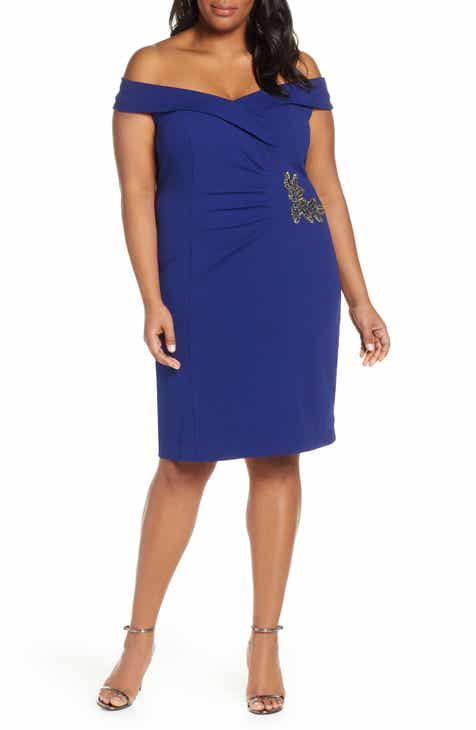 c105827732be Alex Evenings Appliqué Off the Shoulder Sheath Dress (Plus Size)