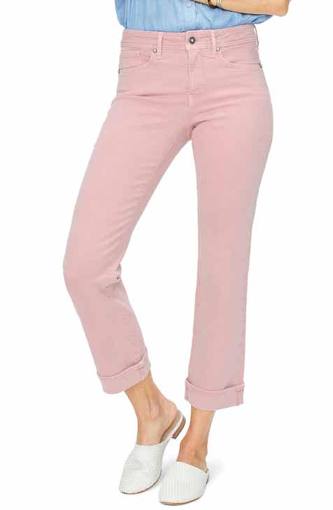 NYDJ Marilyn Cuff Ankle Straight Leg Jeans (Optic White) by NYDJ