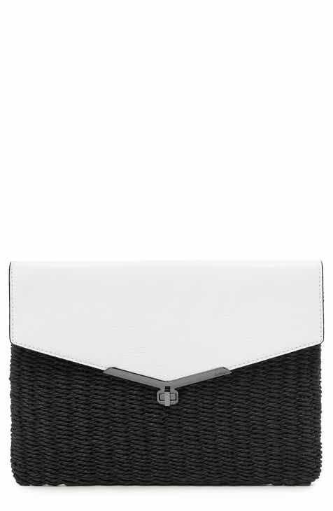 d6599facc9a Botkier Valentina Straw & Leather Envelope Clutch