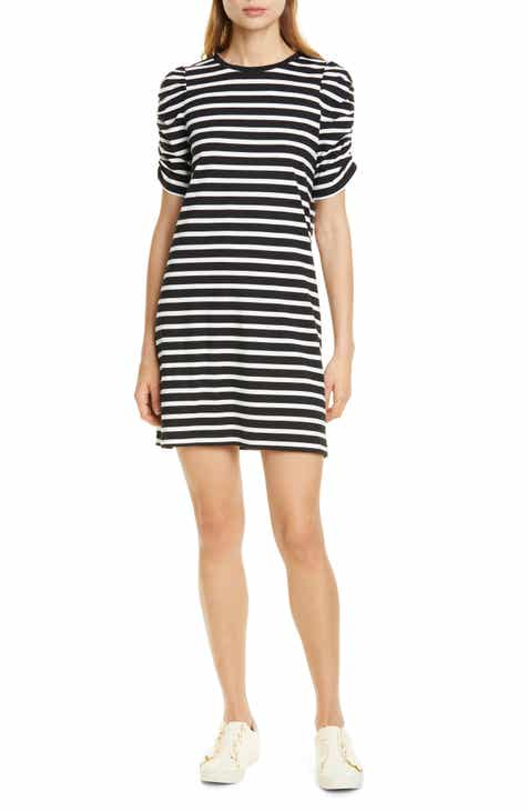 d270a3aa93e kate spade new york sailing stripe ruched sleeve cotton dress