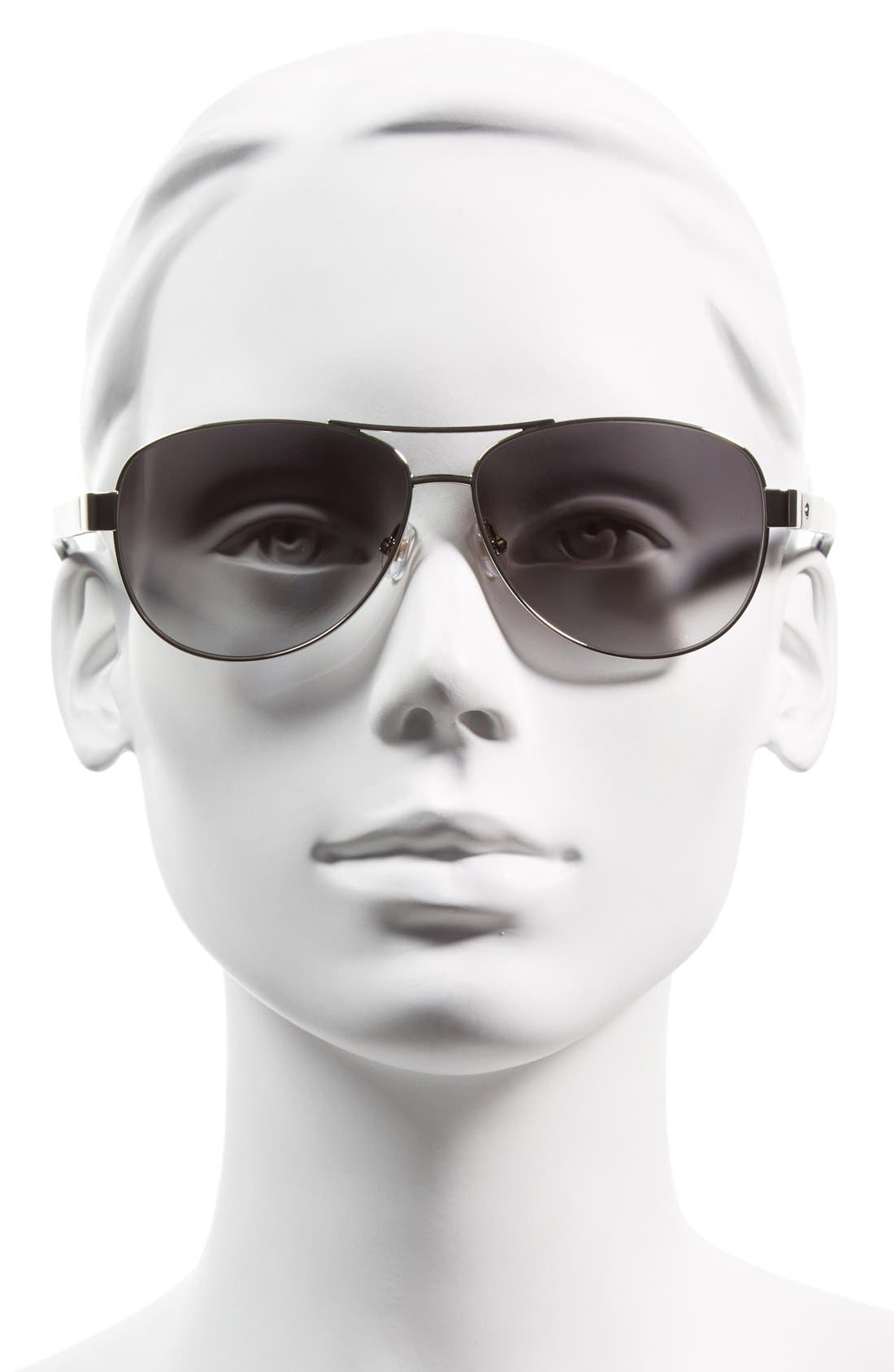 'dalia2' 58mm aviator sunglasses,                             Alternate thumbnail 2, color,                             Silver/ Dots