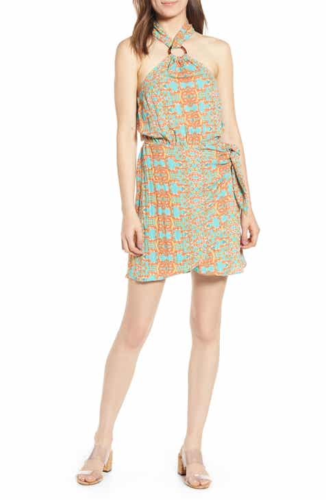 MOON RIVER Print Halter Minidress
