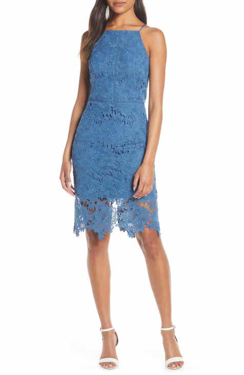 Adelyn Rae Farrah Halter Neck Lace Cocktail Dress