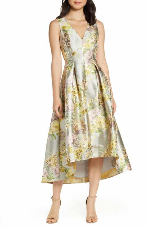 Eliza J Floral Jacquard High/Low Cocktail Gown