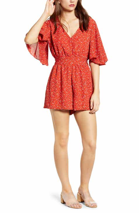 BP. Leaf Print Wrap Front Linen Blend Romper (Regular & Plus Size) by BP