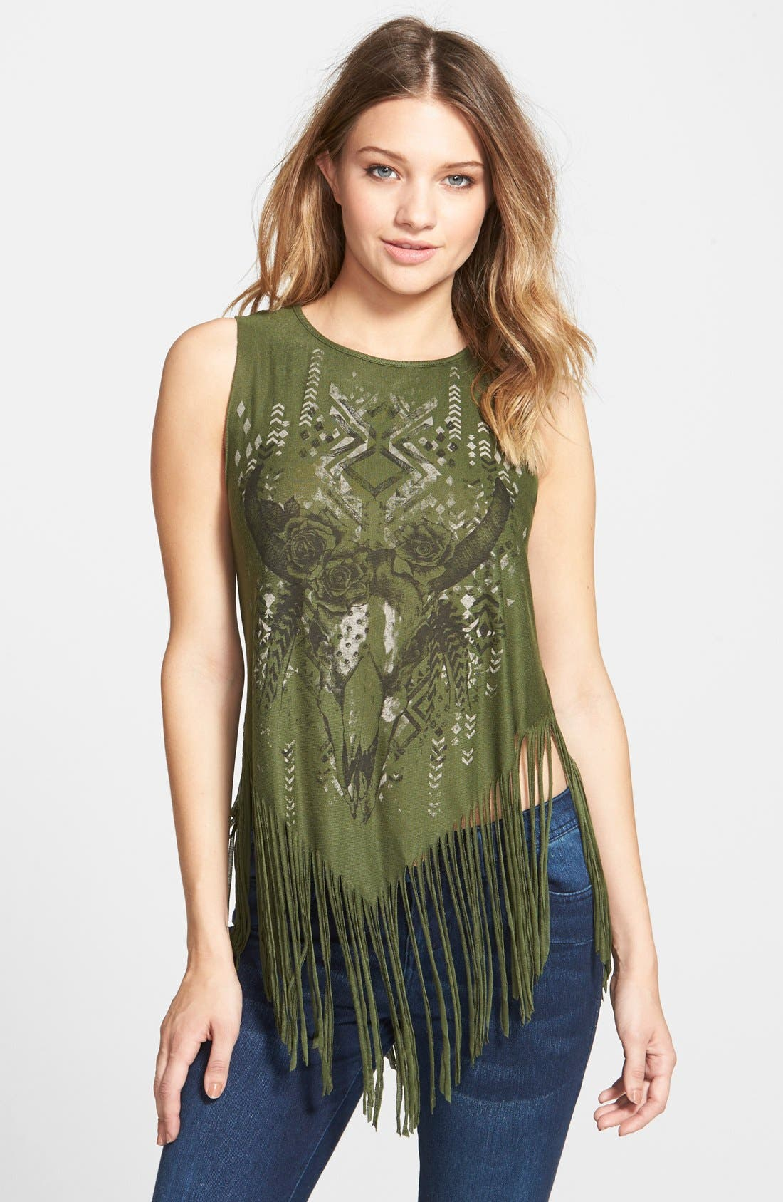 Alternate Image 1 Selected - Living Doll 'Rosebud' Print Fringe Tank