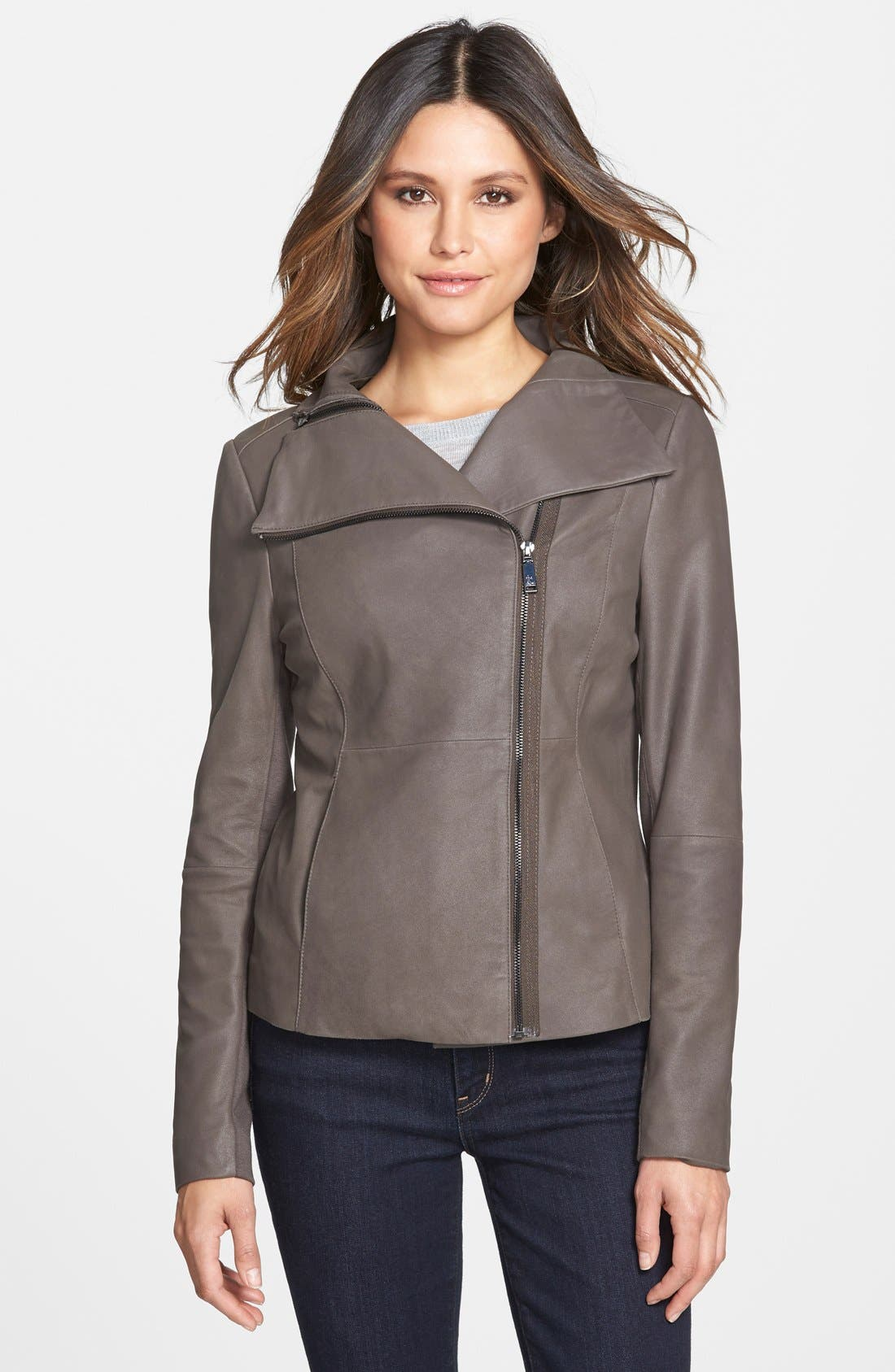 'Angelina' Zip Collar Leather Jacket,                         Main,                         color, Jungle
