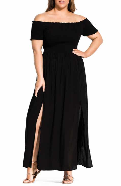 a4b10d58756b City Chic Summer Passion Off the Shoulder Maxi Sundress (Plus Size)