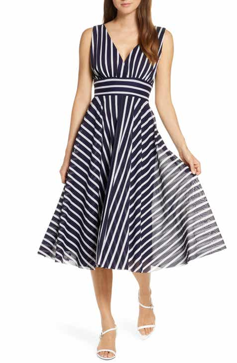 87757344077 Eliza J Stripe Sleeveless Fit   Flare Dress