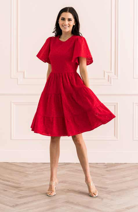Rachel Parcell Mixed Eyelet A Line Dress Nordstrom Exclusive