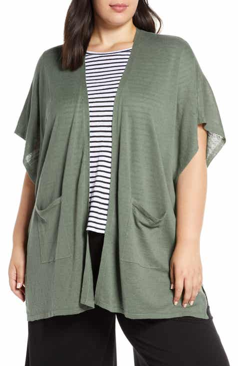 c051db2232d Eileen Fisher Short Sleeve Organic Linen   Cotton Cardigan (Plus Size)