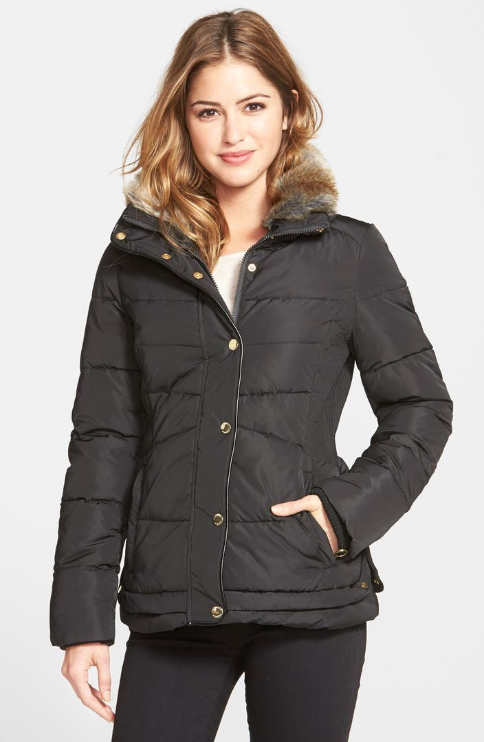 Laundry By Design Faux Fur Trim Puffer Jacket Nordstrom