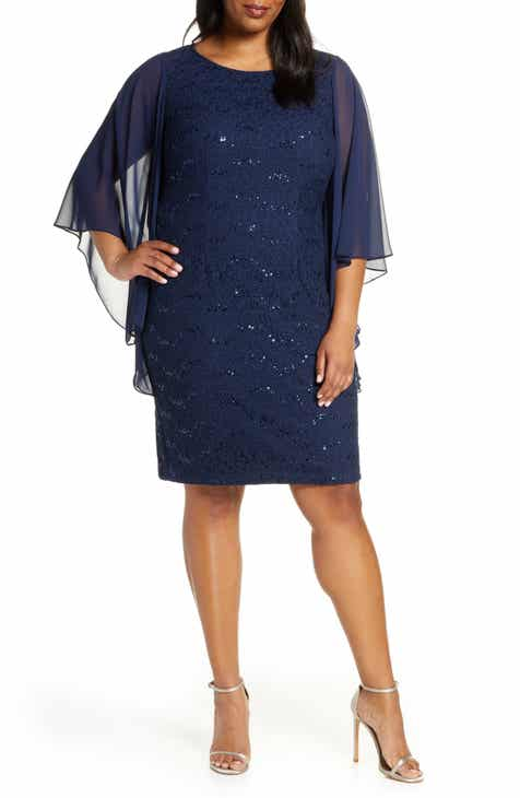 Alex Evenings Embroidered Shift Dress (Plus Size)
