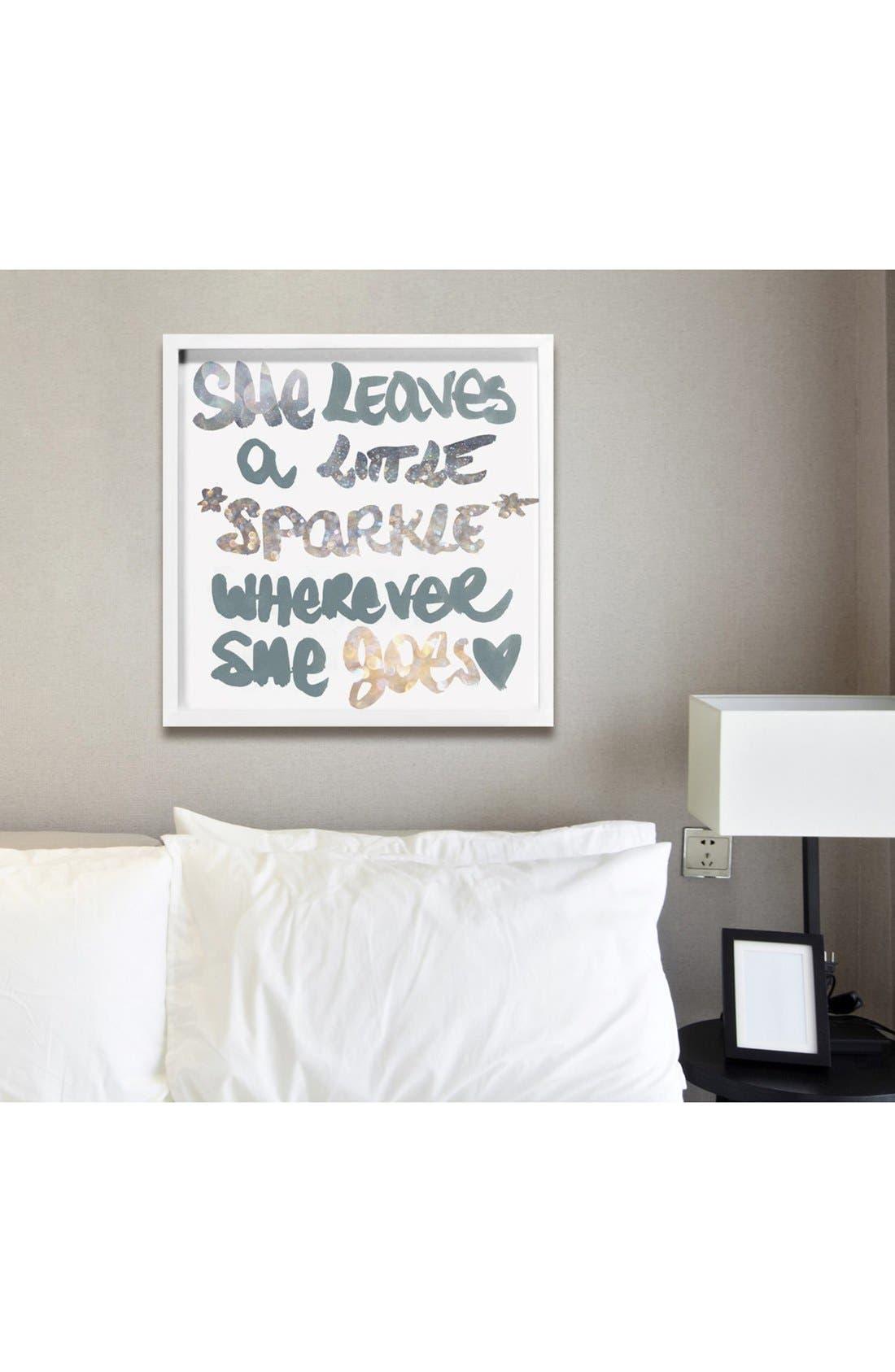 'Silver Sparkle' Framed Art Print,                             Alternate thumbnail 2, color,                             White