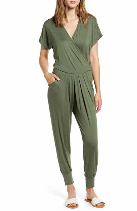 Bargain Loveappella Short Sleeve Wrap Top Jumpsuit (Regular & Petite) Herry Up