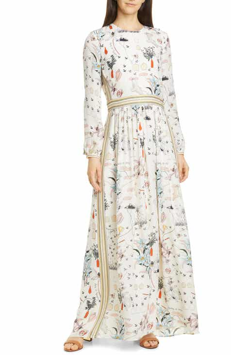 5eeffd5ffce8 Tory Burch Patchwork Print Long Sleeve Silk Maxi Dress