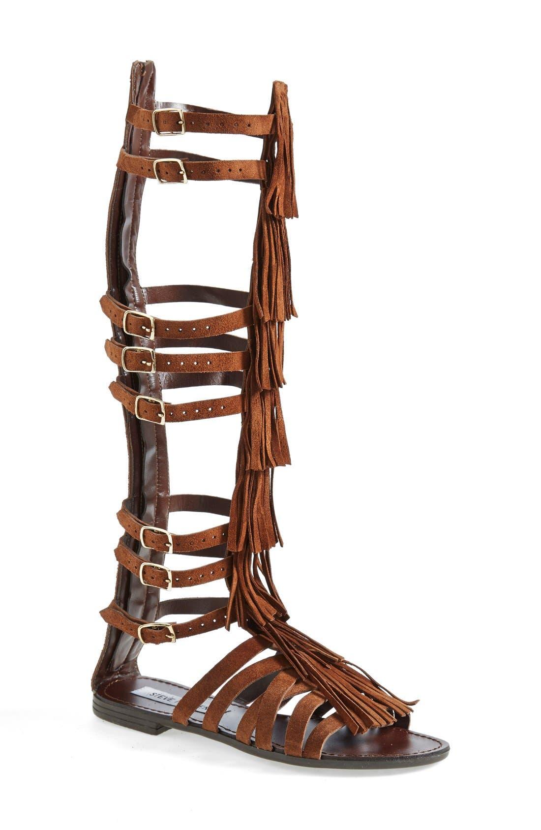 'Villano' Gladiator Sandal,                             Main thumbnail 1, color,                             Chestnut Suede