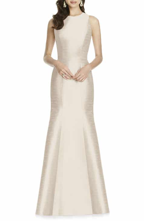 On Sale Alfred Sung Dupioni Trumpet Gown