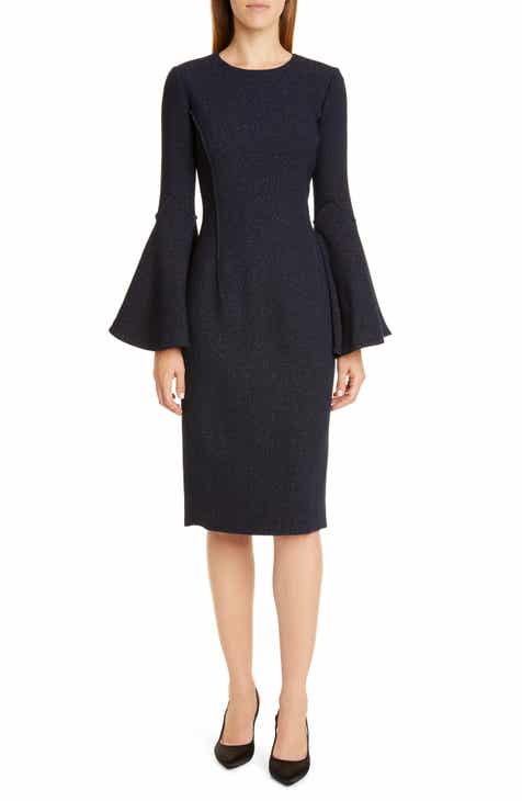 e2cc0f946c Oscar de la Renta Sparkle Long Bell Sleeve Dress