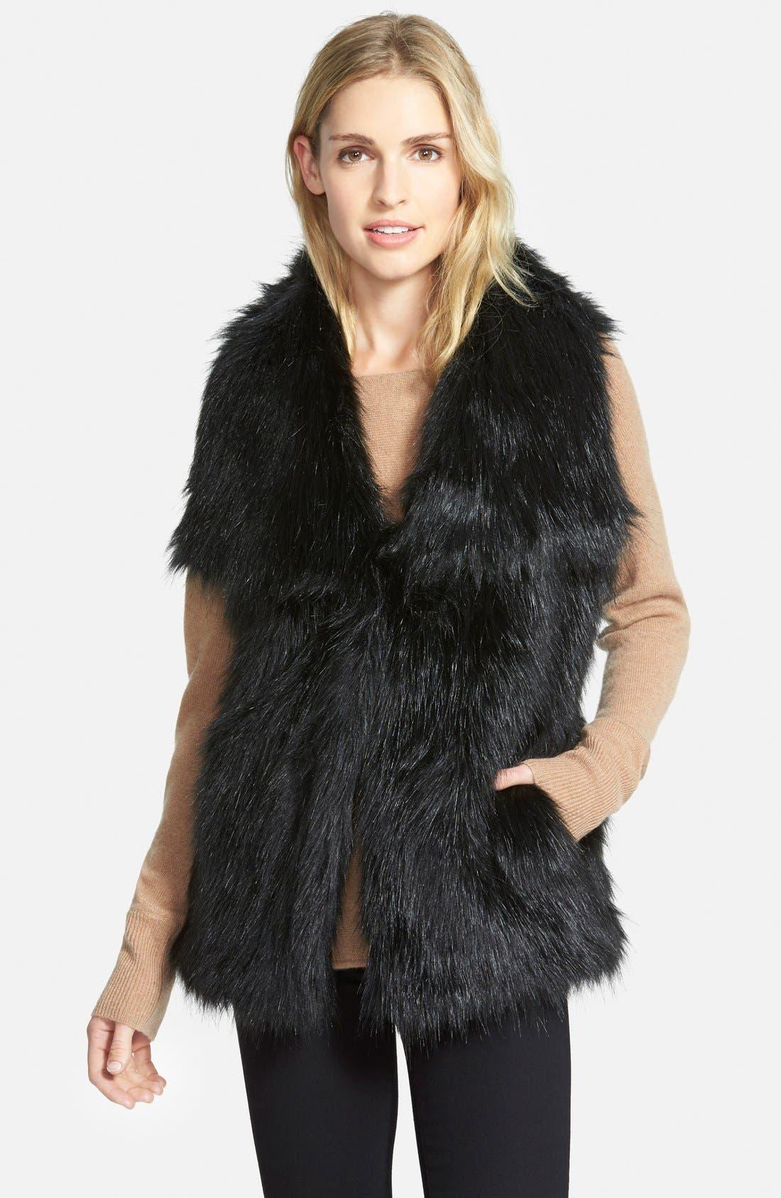 Faux Fur Vest,                         Main,                         color, Black