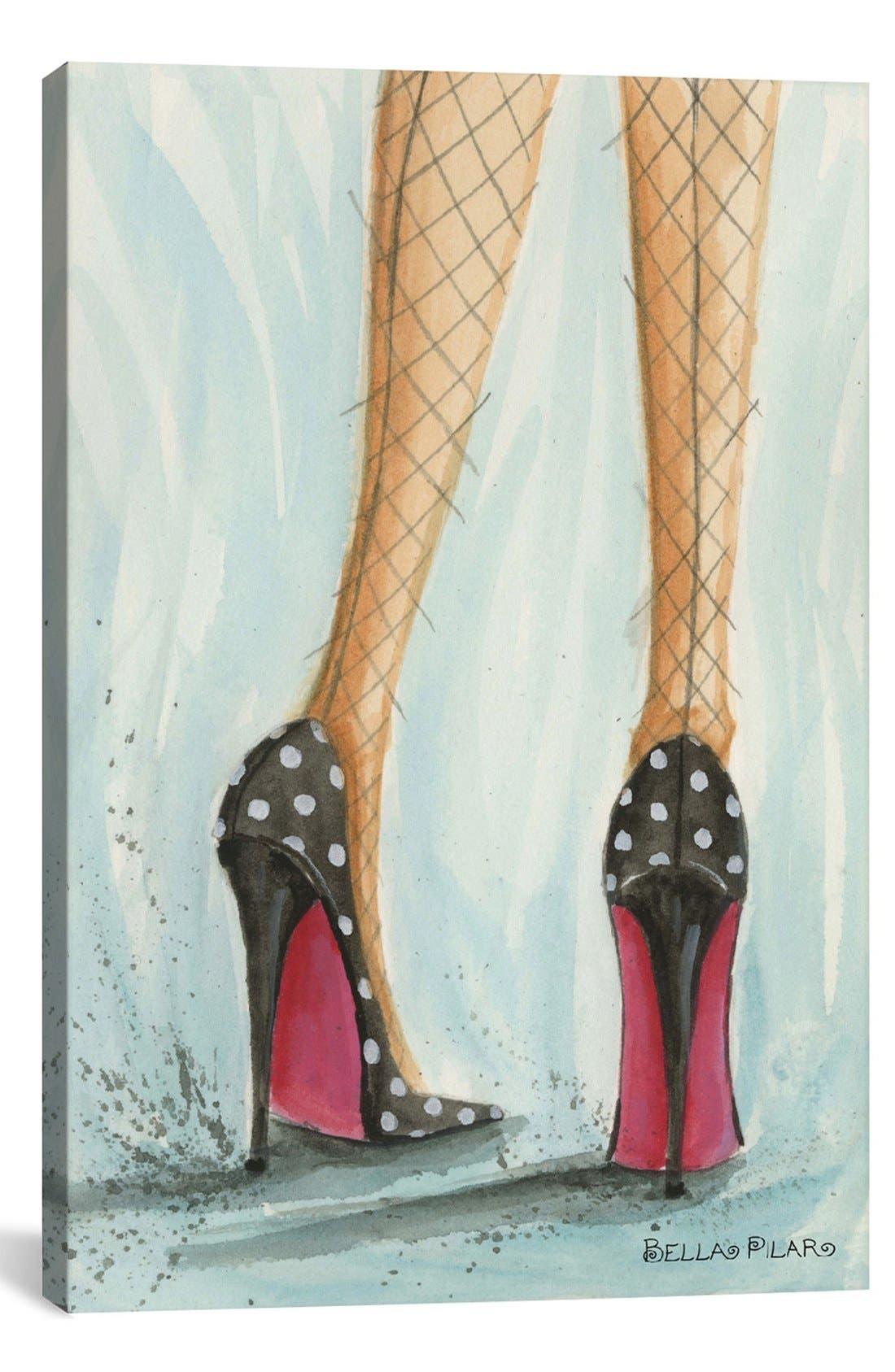 Main Image - iCanvas 'Date Night: Polka Dot Heels - Bella Pilar' Giclée Print Canvas Art