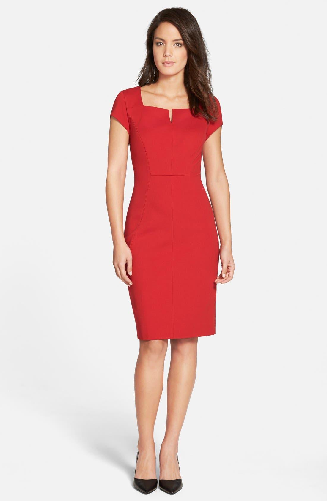 Alternate Image 1 Selected - Classiques Entier® Notched Square Neck Ponte Sheath Dress