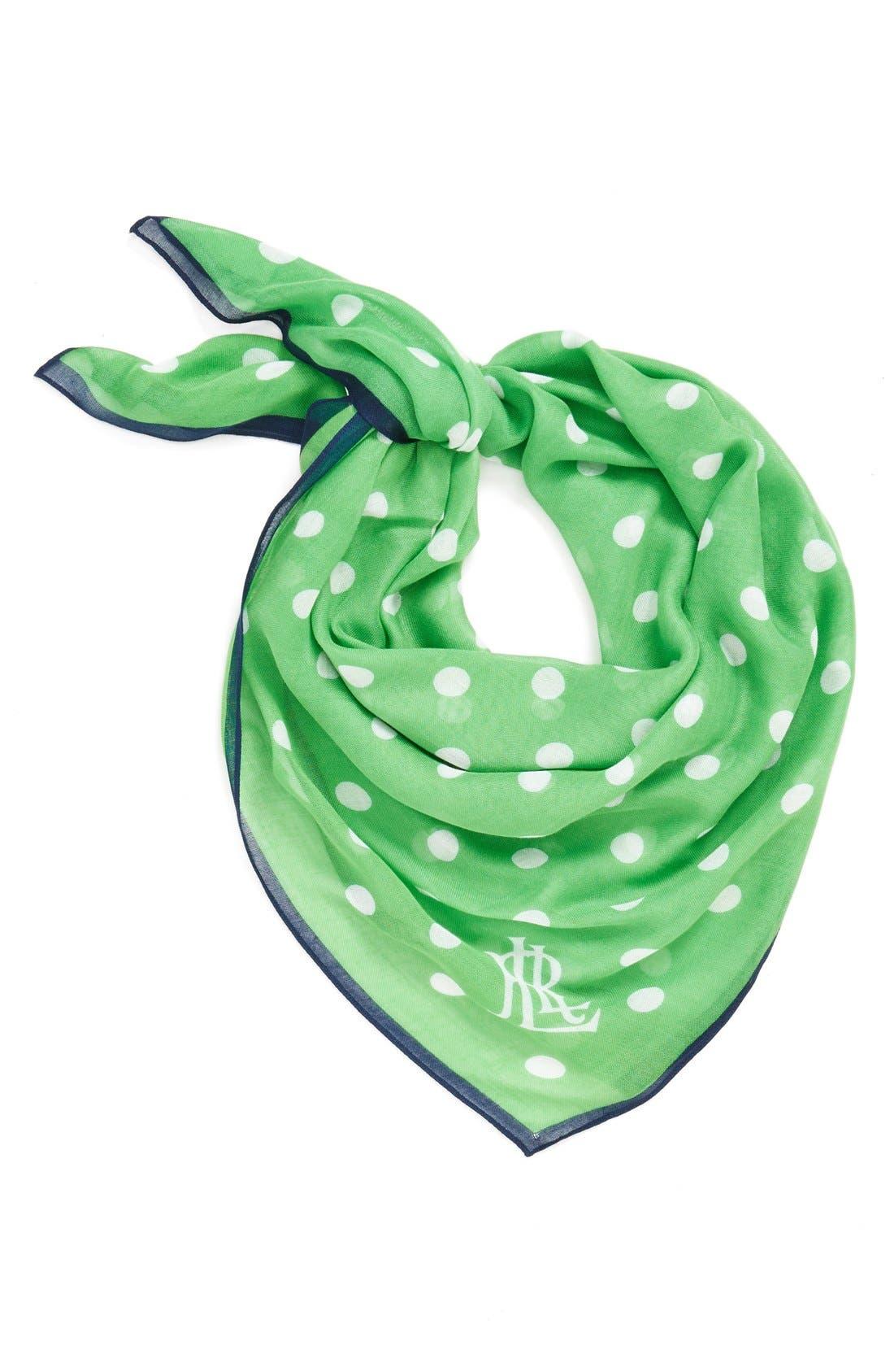 Dot Print Square Scarf,                         Main,                         color, Green