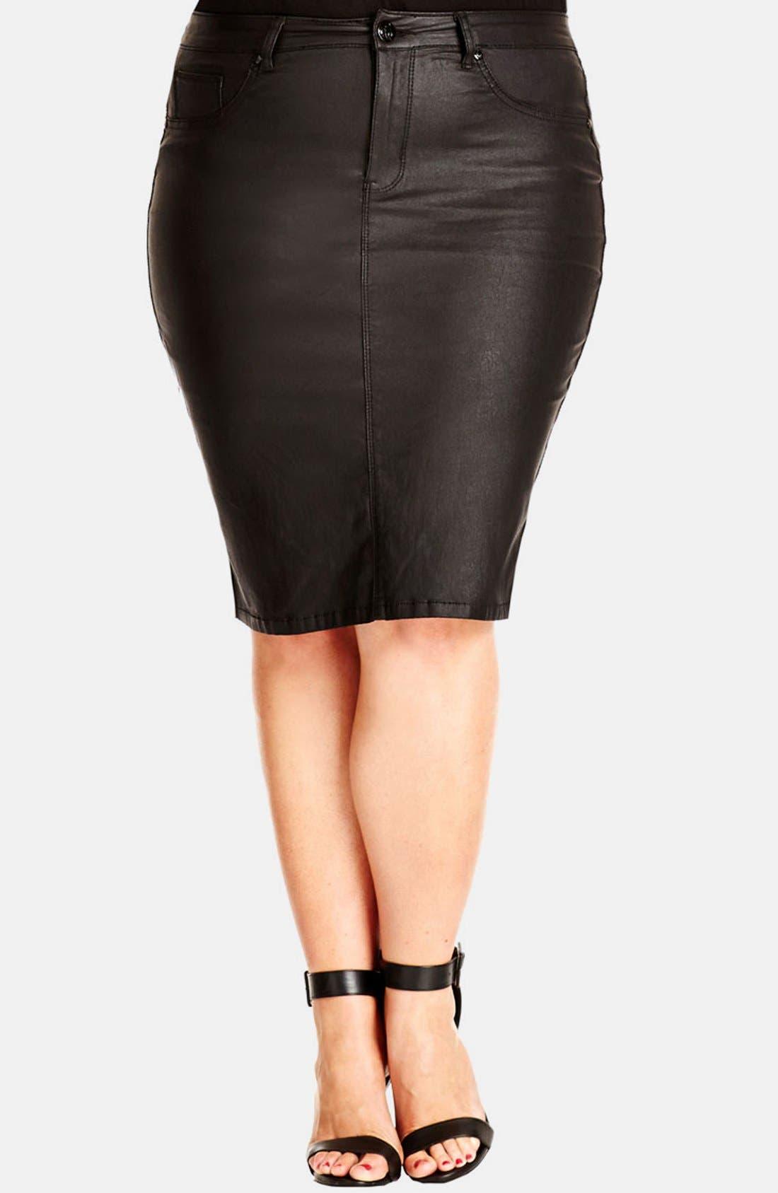 Main Image - City Chic 'Wet Look' Pencil Skirt (Plus Size)