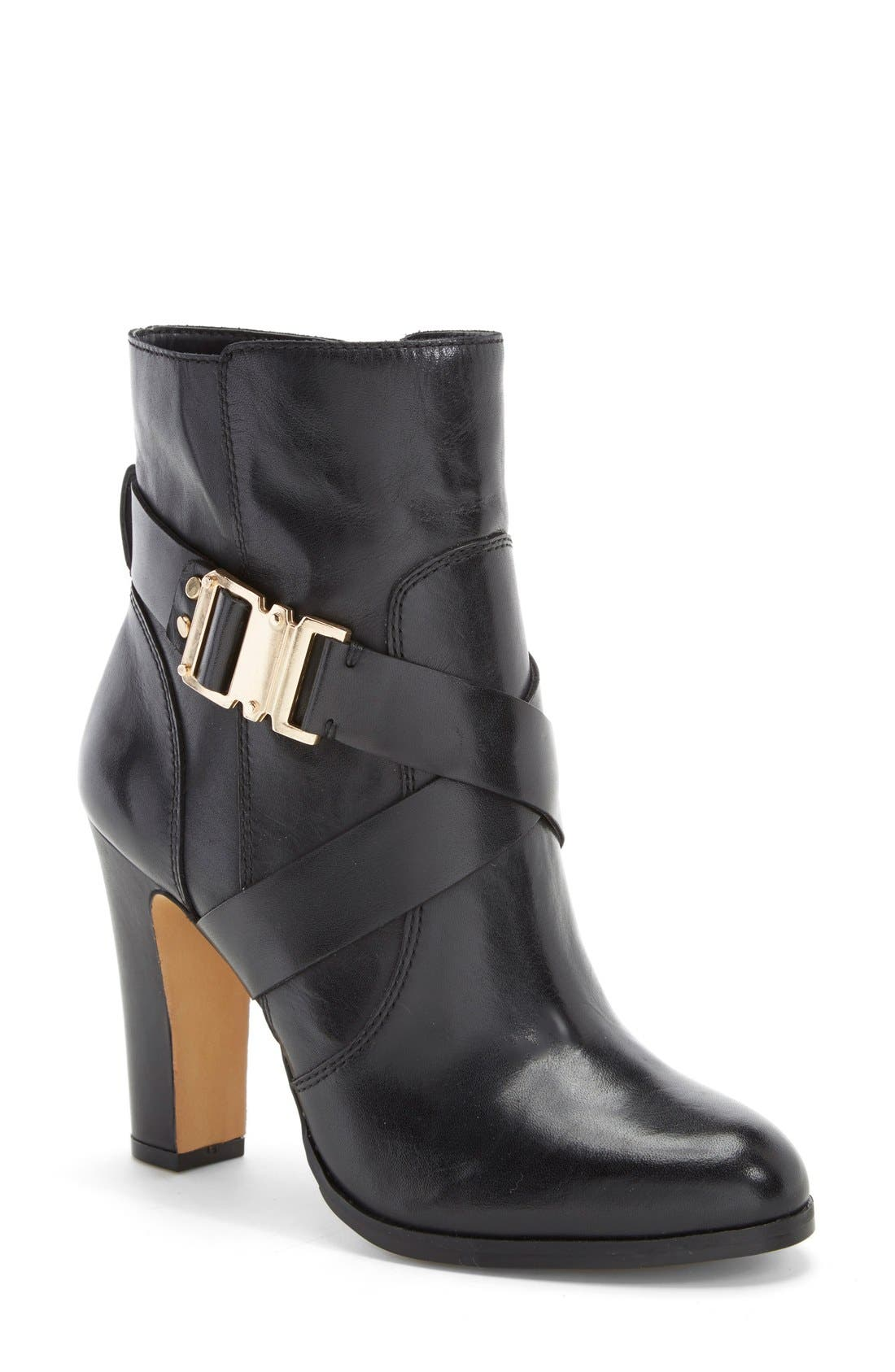 'Connolly' Belted Boot,                             Main thumbnail 1, color,                             Black Leather