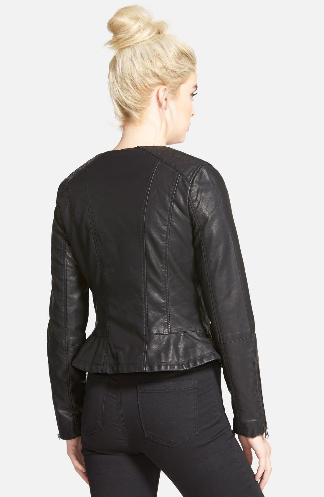 Alternate Image 2  - Topshop Faux Leather Biker Jacket