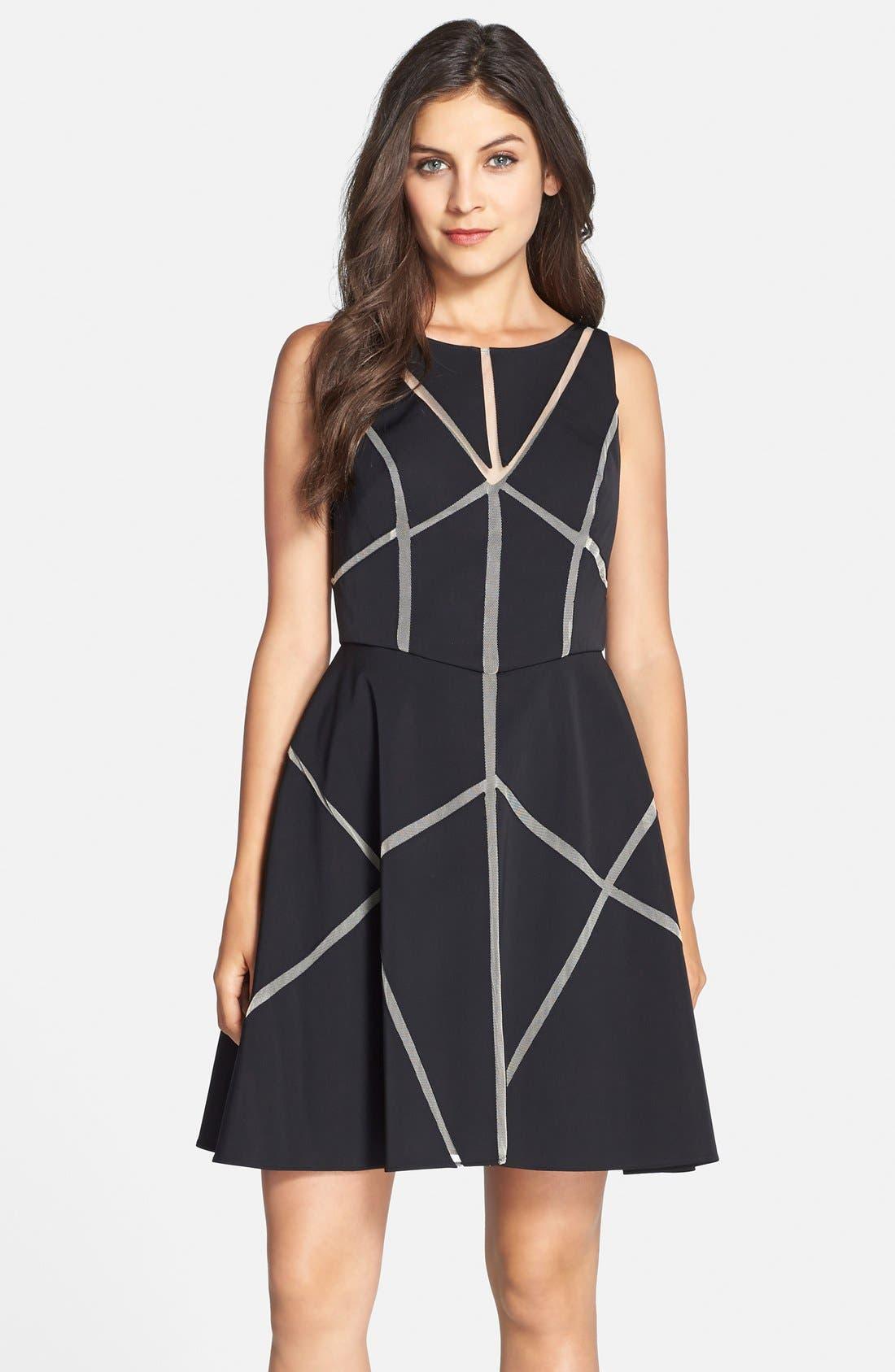 Main Image - Aidan Mattox Cutout Satin Fit & Flare Dress