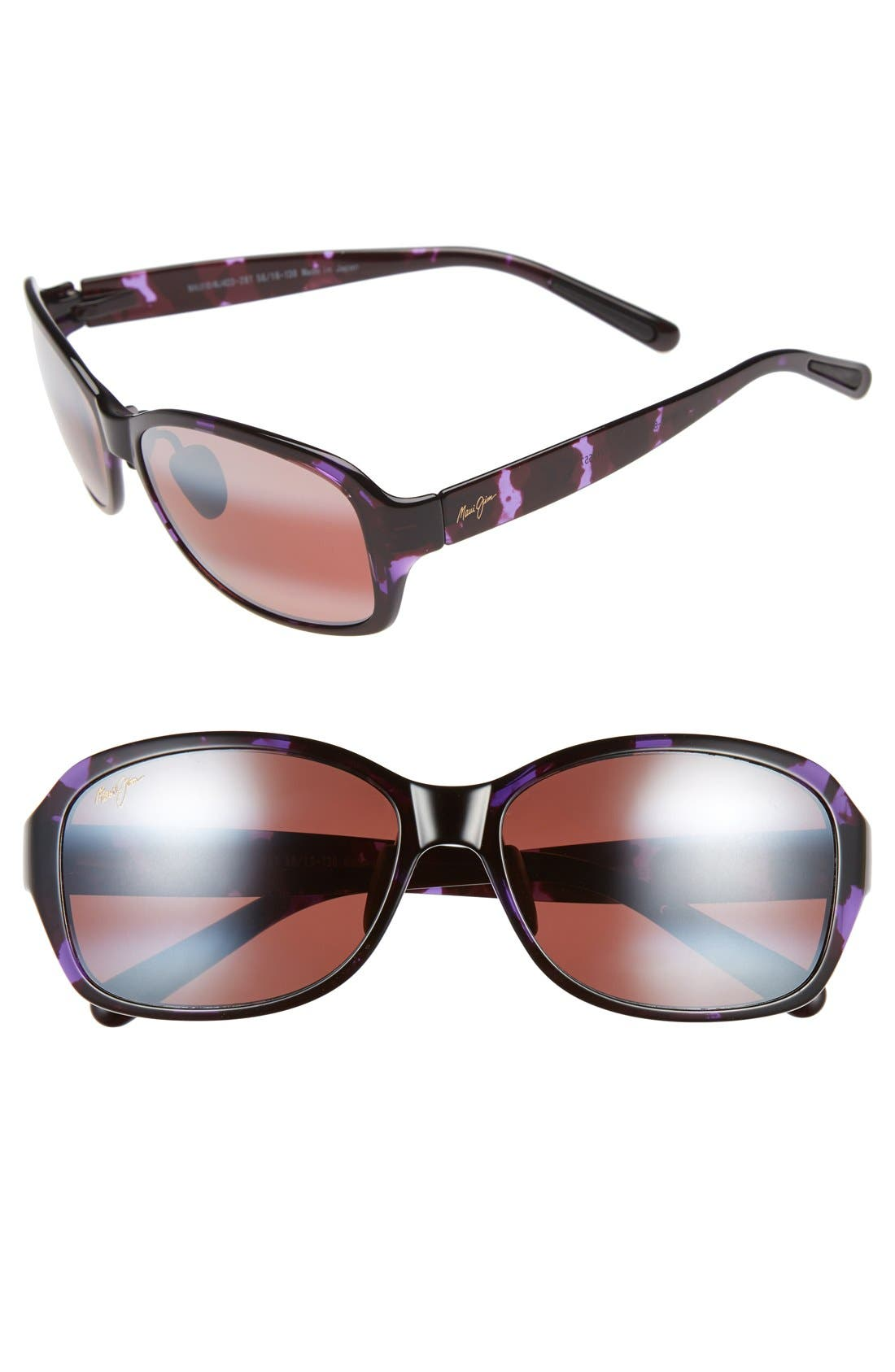Koki Beach 56mm PolarizedPlus2<sup>®</sup> Sunglasses,                             Main thumbnail 1, color,                             Purple Tortoise/ Maui Rose