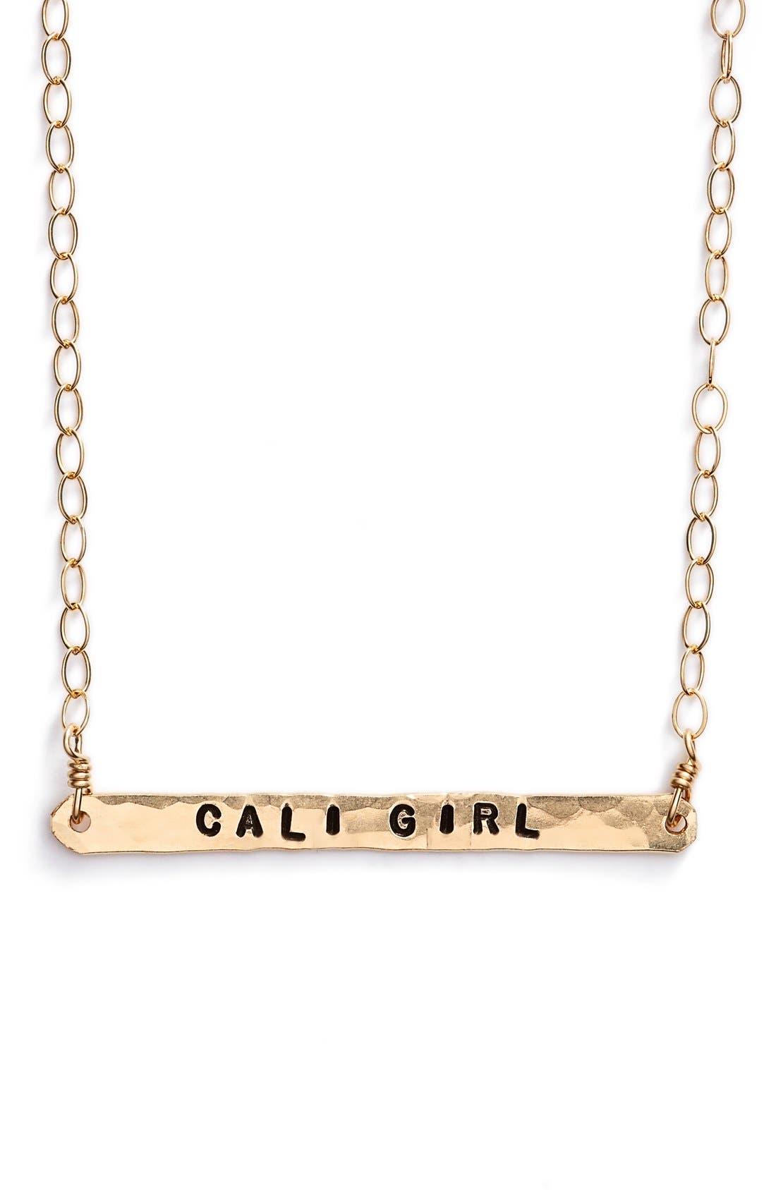 Alternate Image 1 Selected - ki-ele 'Cali Girl' Engraved Pendant Necklace
